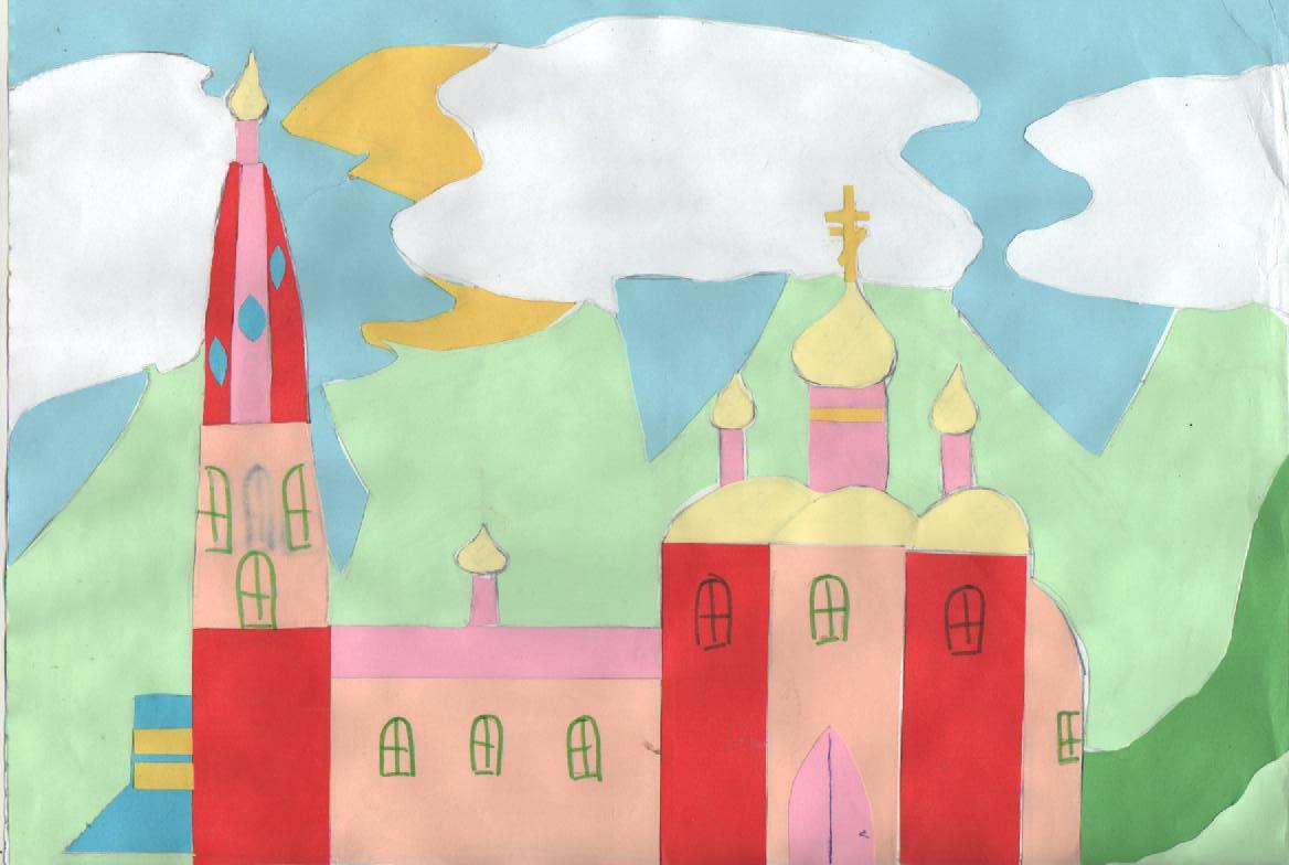 Аппликация церкви из бумаги